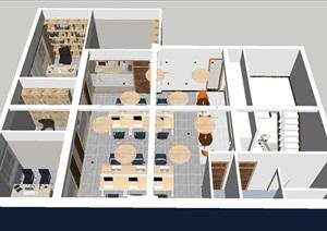 办公楼室内装潢设计方案SU(草图大师)模型
