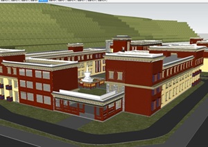 藏式景区酒店建筑设计方案SU(草图大师)模型