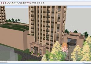 泰丰苑Art deco风格商业+高层住宅项目建筑设计方案SU(草图大师)模型