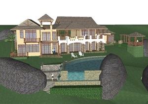 东南亚风格度假酒店建筑设计方案SU(草图大师)模型