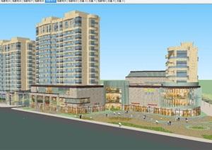 新古典风格住宅+商业广场建筑设计方案SU(草图大师)模型