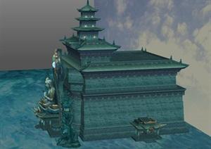 水域神殿游戏场景SU(草图大师)模型