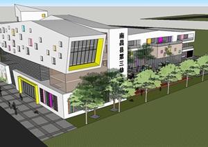 2个南昌第三幼儿园建筑设计方案SU(草图大师)模型