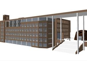 天津大学教学楼建筑设计方案SU(草图大师)模型