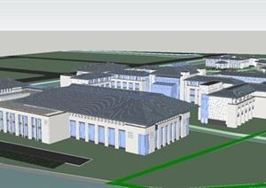 东部新城新中式国宾馆建筑设计方案SU(草图大师)模型