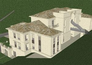 法式山地酒店建筑设计方案SU(草图大师)模型