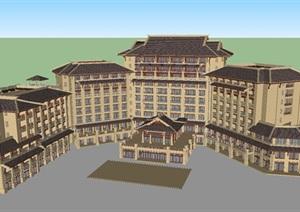 东南亚风格酒店建筑设计方案SU(草图大师)模型