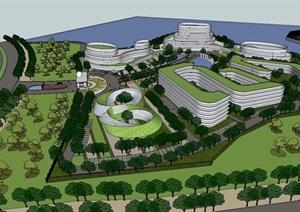 玖龙纸业产业园区建筑设计方案SU(草图大师)模型