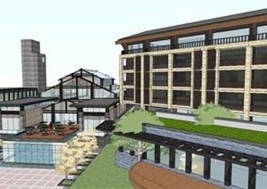 新中式度假酒店建筑设计方案SU(草图大师)模型