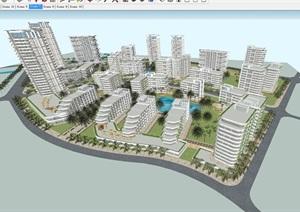 惠州滨海养老社区建筑规划设计方案SU(草图大师)模型