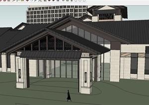 新中式酒店建筑设计方案SU(草图大师)模型