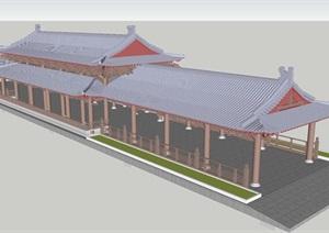 中式仿古廊桥建筑设计方案SU(草图大师)模型