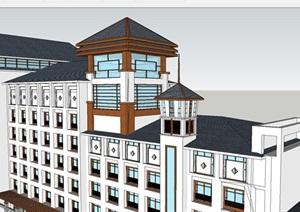 徽派中式酒店主楼建筑设计方案SU(草图大师)模型