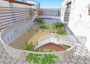 现代幼儿园建筑设计方案SU(草图大师)模型