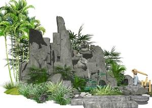 新中式假山叠石 水景跌水景观庭院景观小品SU(草图大师)模型