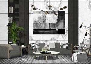 现代沙发茶几组合休闲椅客厅背景墙落地灯吊灯装饰摆件组合SU(草图大师)模型