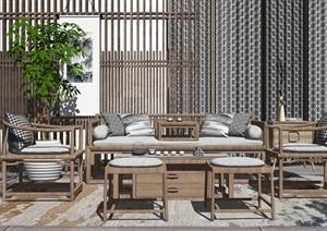 新中式沙发茶几组合屏风隔断盆栽抱枕SU(草图大师)模型