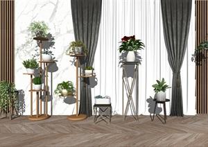 现代绿植盆栽 植物 花架SU(草图大师)模型