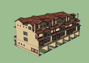 多层小区欧式住宅楼建筑SU(草图大师)模型