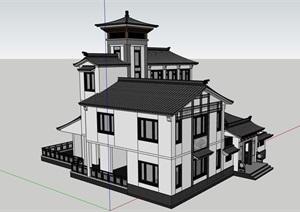 古典中式住宅详细完整建筑SU(草图大师)模型