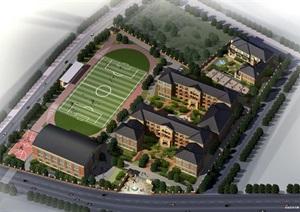杭州老闸弄口九年一贯制学校和幼儿园建筑设计方案(附CAD总平面与单体平面)