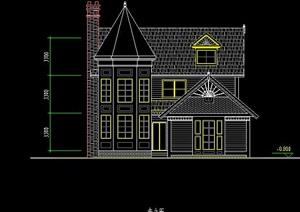 三层的独栋别墅平立面cad方案
