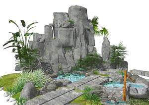 新中式假山叠石 跌水景观 景观小品 庭院景观 水景 SU(草图大师)模型