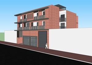 现代中式沿街底商住宅建筑(CAD+SU(草图大师)模型)