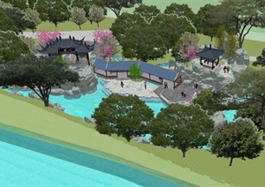 一池三山古典园林建筑设计方案SU(草图大师)模型