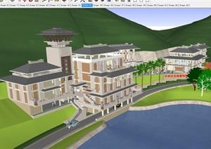 漢式中華漢文苑博物館建筑設計方案SU(草圖大師)模型
