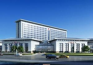 现代中式大型医院建筑设计方案SU(草图大师)模型