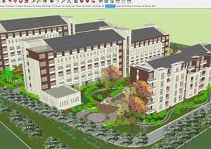 新中式社会福利养老院建筑设计方案SU(草图大师)模型