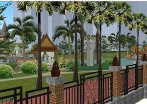 天隆海御泰式社区景观设计方案SU(草图大师)模型