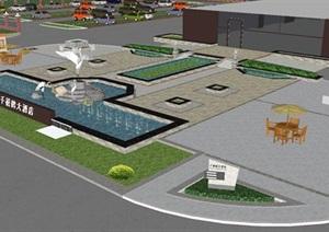 千禧鹤酒店入口广场景观设计方案SU(草图大师)模型