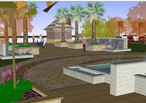 居住区入口景观设计方案SU(草图大师)模型