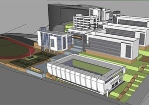 山地中学建筑设计方案SU(草图大师)模型