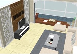 现代简约风格客餐厅室内设计方案SU(草图大师)模型