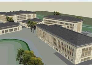 新中式西柏坡干部学院建筑设计方案SU(草图大师)模型
