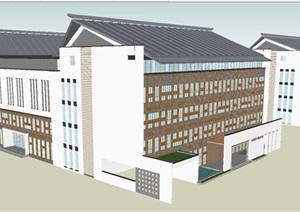 新中式老干部活动中心建筑设计方案SU(草图大师)模型