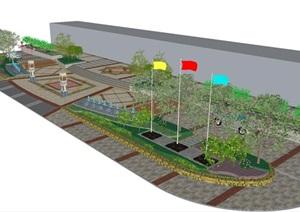 小广场景观节点设计方案SU(草图大师)模型