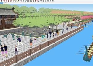 大型滨水公园广场景观设计方案SU(草图大师)模型