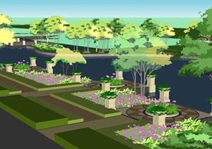 城市水系景观设计方案SU(草图大师)模型