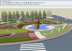 连城景区十字路口道路景观设计方案SU(草图大师)模型