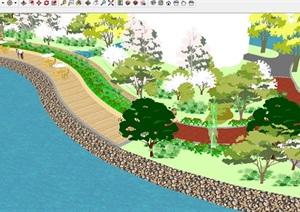 河边驳岸景观设计方案SU(草图大师)模型