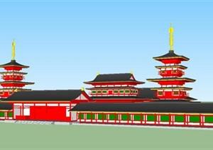 日式药师寺建筑设计方案SU(草图大师)模型