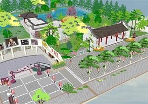 仿古中式公园景观设计方案SU(草图大师)模型