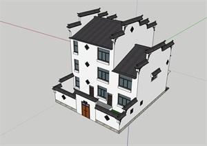 中式居住详细建筑楼素材SU(草图大师)模型