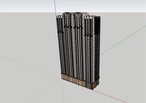 高层现代居住详细建筑楼SU(草图大师)模型