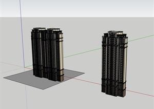 兩棟高層居住詳細建筑樓SU(草圖大師)模型