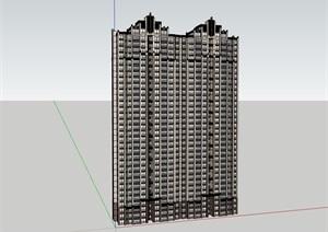 高層獨特居住詳細建筑樓SU(草圖大師)模型
